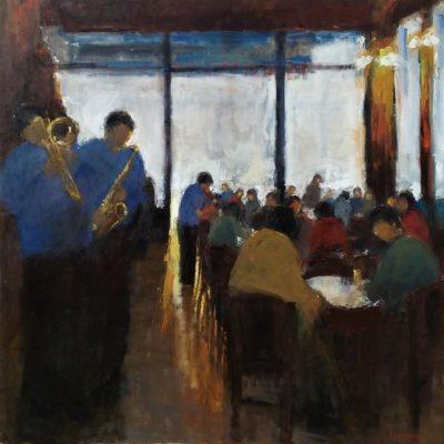 Peinture Fernando Ferreira musiciens en bleu